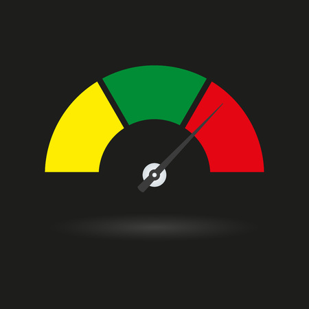 Speedometer icon with arrow. Meter and gauge element. Vector illustration. Vettoriali