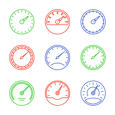 Speedometer and meter icon set in line style. Dashboard outline signs. Vector illustration. Illustration
