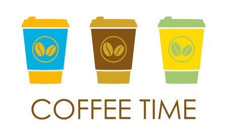 Coffee set with disposable cup of coffee icon. Vector illustration. Stock Illustratie