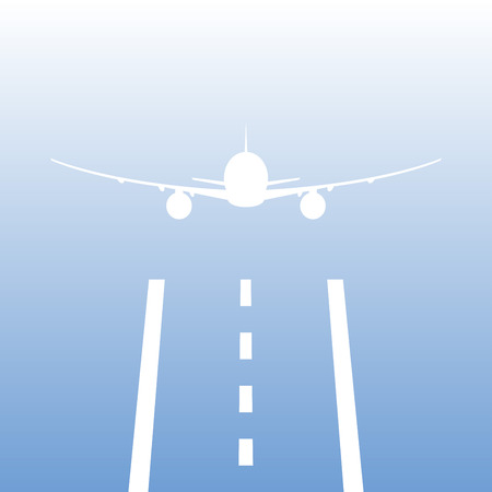 Airplane or aircraft takes off from a runway. Plane is landing away from airport. Vector illustration. Stock Illustratie