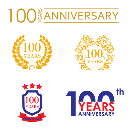 100 years anniversary icon set. Vector illustration.