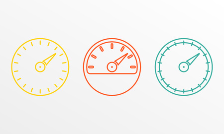 Speedometer and meter icon set in line style. Dashboard outline signs. Vector illustration. Stock Vector - 110199812