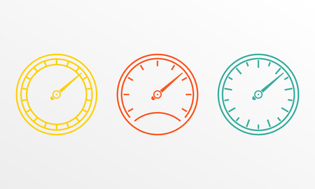 Speedometer and meter icon set in line style. Dashboard outline signs. Vector illustration. Stock Vector - 108022458
