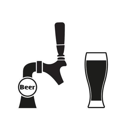 Robinet à bière avec verre à bière. Icône de vecteur.