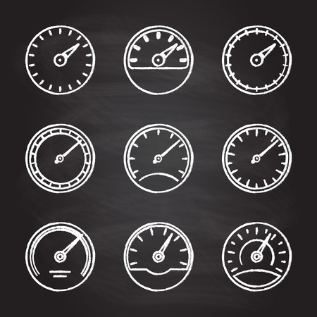 Speedometer and meter icon set isolated on blackboard texture with chalk rubbed background. Dashboard outline signs. Vector illustration. Vector Illustration