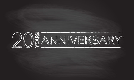 20 years hand drawn emblem, icon or label isolated on blackboard texture with chalk rubbed background. Anniversary design element. Vector illustration. Ilustração