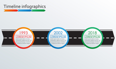 3 steps Timeline infographics with arrow from road. Three options or levels template. Vector illustration.