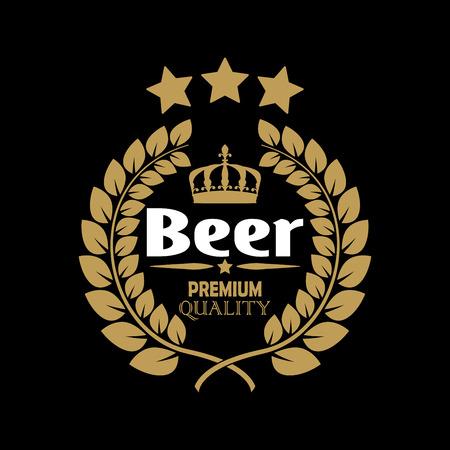 beer label with laurel wreath brewery design template vector