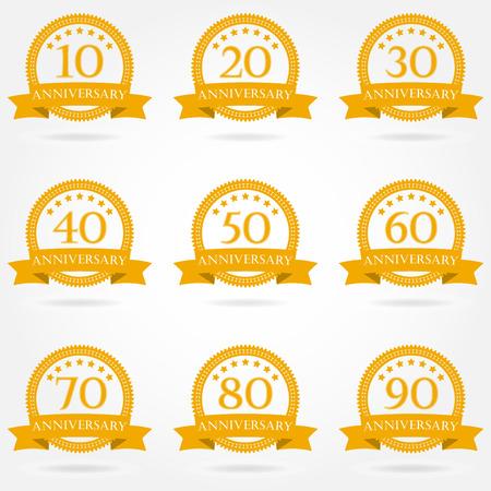 Anniversary icon set. Emblems and stamps with ribbon. 10,20,30,40,50,60,70,80,90 years design elements. Vector illustration. Vektoros illusztráció