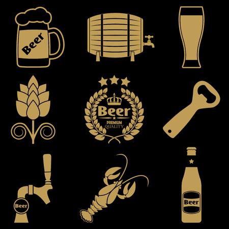 Set di icone di birra con bottiglia di birra, rubinetto, apriscatole, boccale. Illustrazione vettoriale.