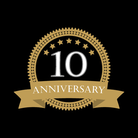 10 years anniversary template with ribbon. 10th celebration emblem or icon. Vector illustration.