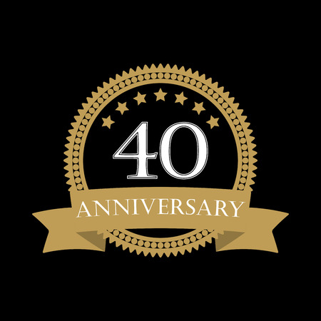 40 years anniversary template with ribbon. 40th celebration emblem or icon. Vector illustration. Vector Illustration
