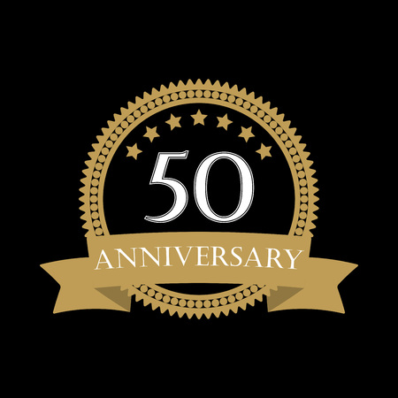 50 years anniversary template with ribbon. 50th celebration emblem or icon. Vector illustration.