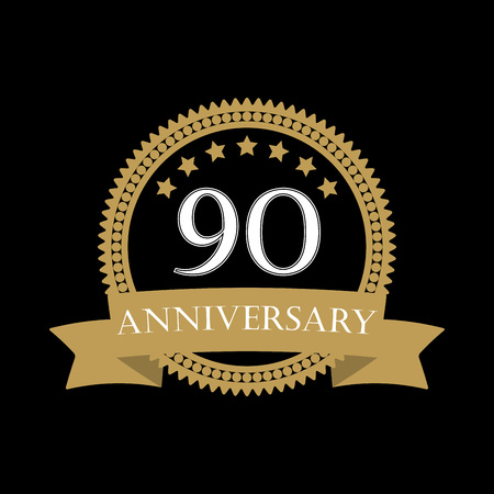 90 years anniversary template with ribbon. 90th celebration emblem or icon. Vector illustration.