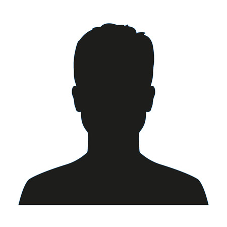 Man avatar profile. Male face silhouette or icon isolated on white background. Vector illustration.  イラスト・ベクター素材