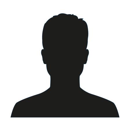 Perfil de avatar de hombre. Silueta de rostro masculino o icono aislado sobre fondo blanco. Ilustración vectorial.