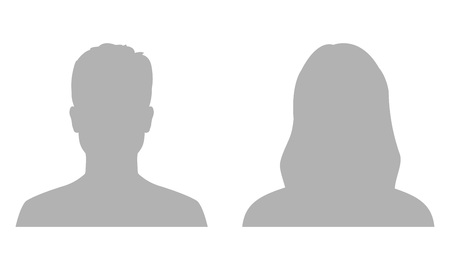 Man and woman avatar profile. Male and Female face silhouette or icon. Vector illustration.