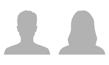 Perfil de avatar de hombre y mujer. Silueta o icono de rostro masculino y femenino. Ilustración de vector.