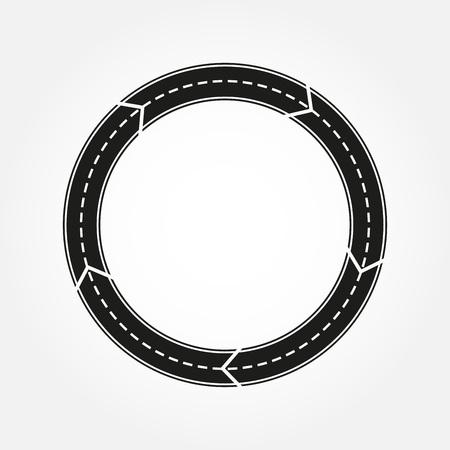 Lément de conception de route. Route ronde asphaltée avec des flèches. Modèle de rond-point. Illustration vectorielle. Banque d'images - 108513022