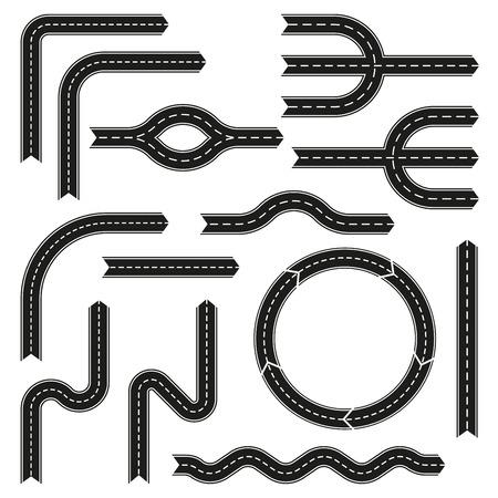 Ensemble d'éléments de conception de route. Route asphaltée avec des flèches. Illustration vectorielle. Vecteurs