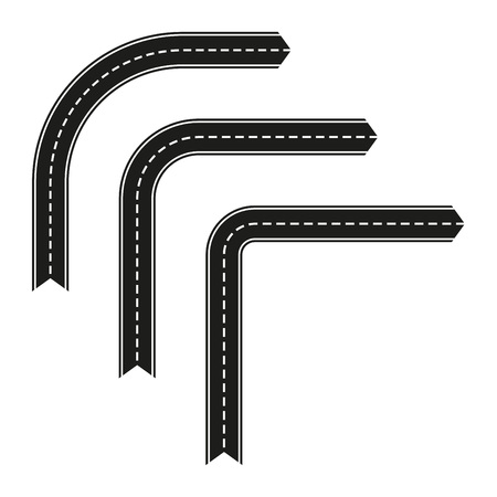 Asphalt road set in shape of arrow. Vector road turn template isolated on white background.  イラスト・ベクター素材