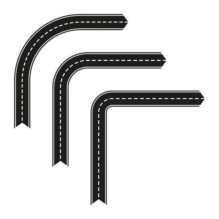 Route asphaltée en forme de flèche. Modèle de virage de route de vecteur isolé sur fond blanc. Vecteurs
