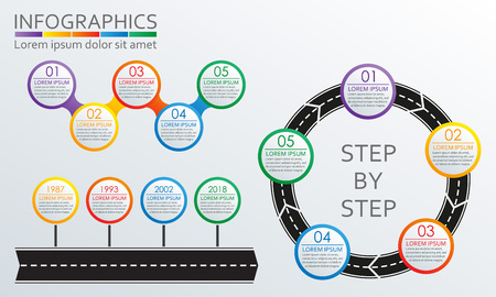 Infographics set. Road in shape of arrow with steps, options or levels. Vector illustration.