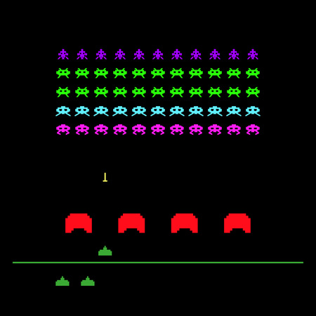 Video game with space, invaders, aliens. Retro style computer game template. Vector Illustration. Banque d'images - 109815491
