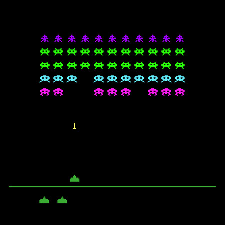 Video game with space, invaders, aliens. Retro style computer game template. Vector Illustration.