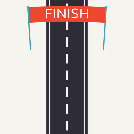 Asphalt road with finish line. Race design template in flat style. Top view background. Vector illustration. 向量圖像