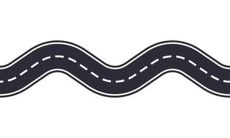 Camino sinuoso aislado sobre fondo blanco. Patrón sin fisuras de la carretera asfaltada. Plantilla de diseño de tráfico de coches. Ilustración de vector.