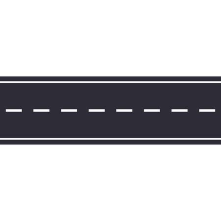 Strada asfaltata senza soluzione di continuità isolata su sfondo bianco. Illustrazione vettoriale.