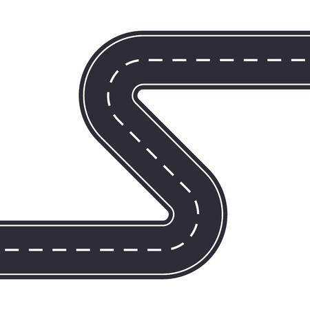 Route sinueuse isolée sur fond blanc. Route asphaltée courbe ou autoroute. Illustration vectorielle. Vecteurs