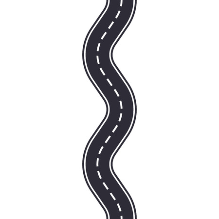 Winding road isolated on white background. Seamless pattern of asphalt road. Car traffic design template. Vector illustration.  イラスト・ベクター素材