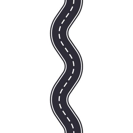 Kronkelende weg geïsoleerd op een witte achtergrond. Naadloze patroon van asfaltweg. Ontwerpsjabloon voor autoverkeer. Vector illustratie.
