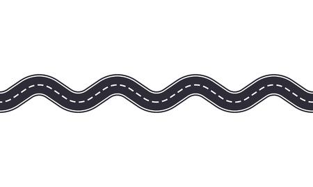 흰색 배경에 고립 된 구불 구불 한도. 아스팔트 도로의 완벽 한 패턴입니다. 자동차 교통 디자인 템플릿입니다.