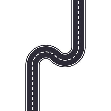 Winding road isolated on white background. Curved asphalt road or highway. Vector illustration. Vector illustration.