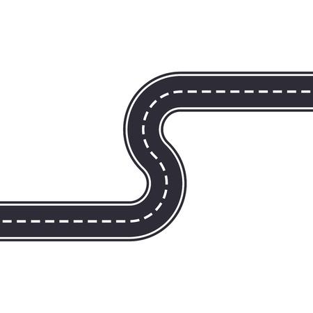 Kurvenstraße lokalisiert auf weißem Hintergrund. Gebogene Asphaltstraße oder Autobahn. Vektorillustration.