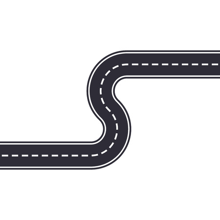Winding road isolated on white background. Curved asphalt road or highway. Vector illustration.