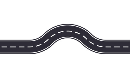 Winding road design template isolated on white background. Seamless asphalt road or highway. Vector illustration. Illustration