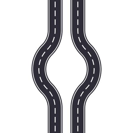 Winding road design template isolated on white background. Seamless asphalt road or highway. Vector illustration. Illusztráció