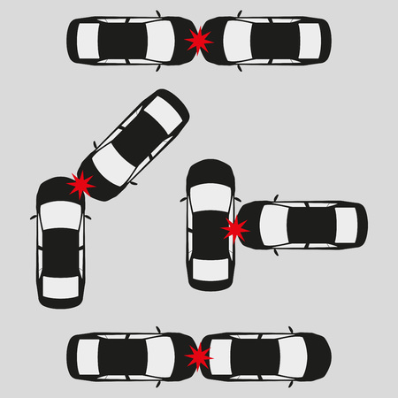 Car crash and accidents icon set. Vector illustration.