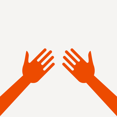 Hands in flat style. Colorful vector illustration.