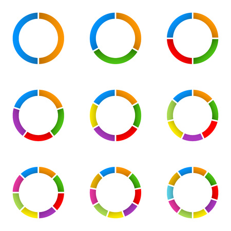 Circular diagram set. Pie chart template. Circle infographics concept with 2,3,4,5,6,7,8,9,10 steps, parts, levels or options. Colorful vector illustration.