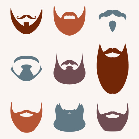 Beard set isolated on white background. Different silhouettes of beard. Vector illustration.