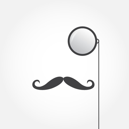 Monocle and mustache. Old fashioned gentleman accessories icon. Vintage or hipster style. Vector illustration. Illustration