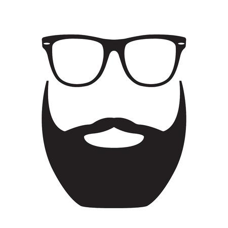 Bart mit Brille. Hipster Gesicht Silhouette. Vektorillustration.
