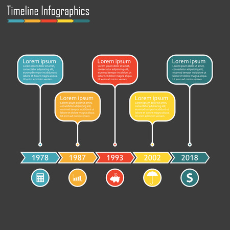 Timeline infographics with 5 steps, options, stages or levels. Vector illustration. Ilustração