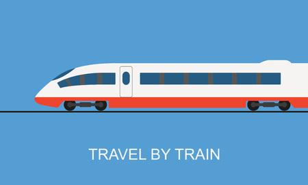 Train, side view. Modern high-speed train in flat design. Vector illustration. Иллюстрация