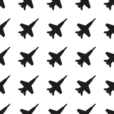 Modèle d'avion. Arrière-plan de chasseur à réaction sans soudure. Illustration vectorielle. Vecteurs